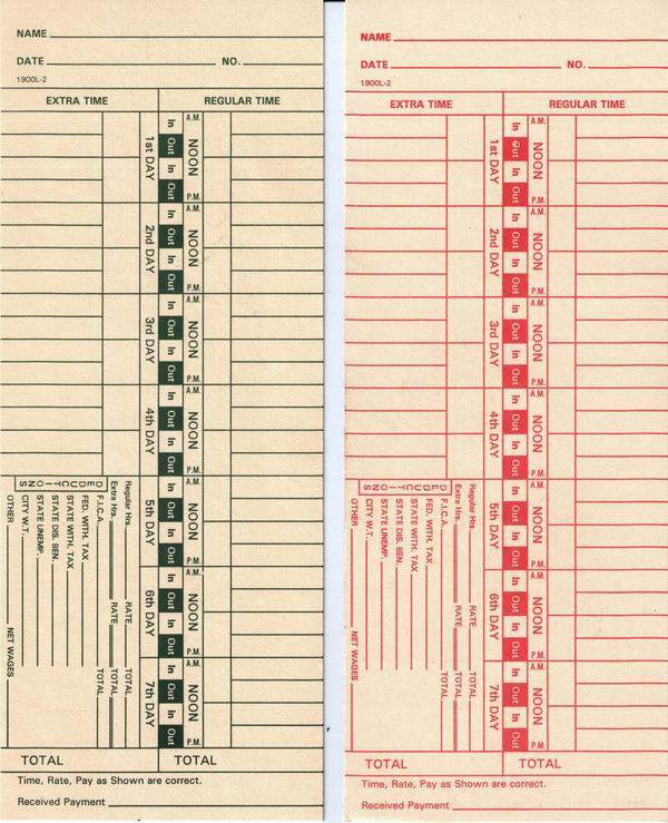 1900L-2 Time Cards