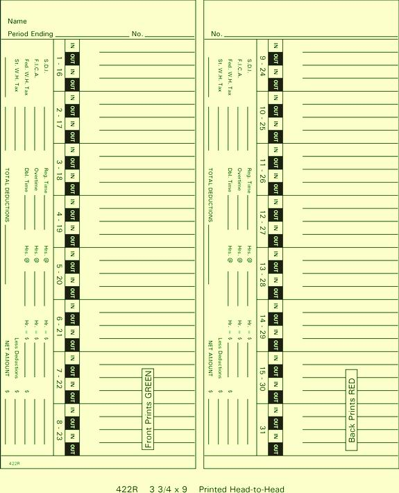 422R Time Cards