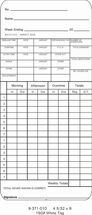 Isgus 9-371-010 TIme Cards