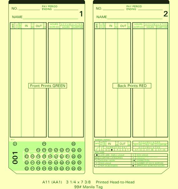 Amano MJR Time Cards 000-199