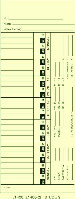 L1400 Time Cards