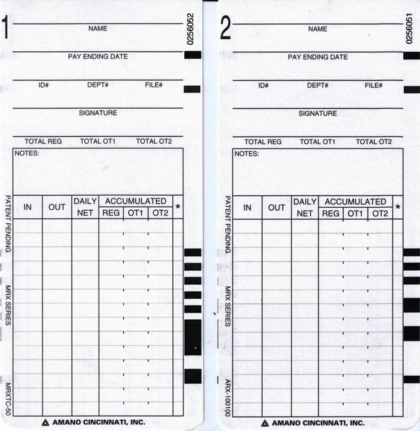 MRX-35 Time Cards ARX-101300